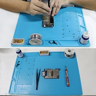 Design 35x25cm Non-flammable, magnetic, Heat Insulation Silicone Pad Electrical BGA Soldering Repair Station Maintenance Platform with Screw Location Mat