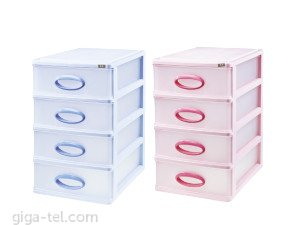 1 SET 4pcs of drawers for storage parts, complet size L22xW15.5xH25.8cm, mix color - for shipment can add extra fees depend size.... / light second hand