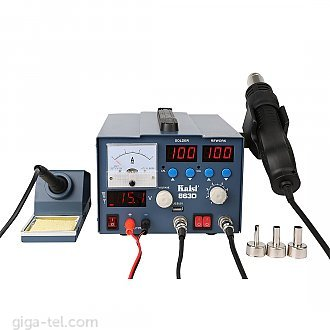 3 in 1 : blowergun, soldering station and DC power supply.Power: 800W,Power supply: 0-15V/ max 3A,Working heat gun temperature: 100-450degree
